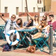 Group of happy best friends taking a selfie - Tourists having fun in the summer around the old town - University students during a break in a sunny day — Stock Photo