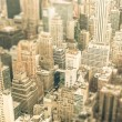 Skyscrapers in the business district of New York City - Aerial view of modern buildings of the skyline in downtown Manhattan - Tilted shift defocusing — Stock Photo #55979255