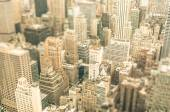 Skyscrapers in the business district of New York City -  Aerial view of modern buildings of the skyline in downtown Manhattan - Tilted shift defocusing — Stock Photo