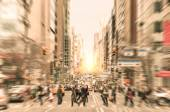 People on the street on Madison Avenue in Manhattan downtown before sunset in New York city - Commuters walking on zebra crossing during rush hour in american business district — Stock Photo
