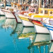 Colorful sailing boats at Fishermans Wharf of San Francisco Bay - California - United States — Stock Photo #57387427