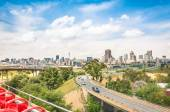 Wide angle view of Johannesburg skyline from the highways during a sightseeing tour around the urban area - Metropolitan buildings of the business district in the capital of South Africa — 图库照片