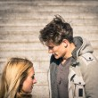 Couple in a moment of troubles during break up phase - Dramatic scenario with boyfriend and girlfriend and lack of communication - Concept of sadness within a love relationship — Stock Photo #59285265