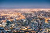 Aerial view of Cape Town from Signal Hill after sunset during the blue hour - South Africa modern city with spectacular nightscape panorama — Stock Photo
