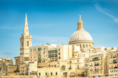 Detail postcard of old town La Valletta - Capital of world famous mediterranean island of Malta - Medieval architecture and urbanistic — Stock Photo