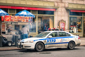 NYPD car parked at Grand Central Station in Manhattan downtown New York City. Established in 1845, NYPD is the largest municipal police force in the United States. — Stock Photo