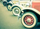 Vintage Car Wheels - Retro classic vehicle — Stock Photo