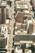 Skyscrapers and everyday people life in the business district of Johannesburg - Aerial view of modern buildings of the skyline in South Africa biggest city - Tilted shift defocusing — Stock Photo