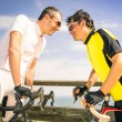 Sport challengers ar bike race - Bicycle competition international world championship - Concept of challenge and loyalty together against doping issues - Two bikers facing each other — Stock Photo #62093635