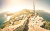 Fisheye panorama of Cape of Good Hope near Cape Town in South Africa - Radial zoom defocusing with retro nostalgic filtered look — Stock Photo