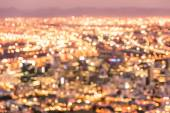 Bokeh of Cape Town skyline from Signal Hill after sunset during the blue hour - South Africa modern city with spectacular nightscape panorama - Warm blurred defocused night lights — Stock Photo