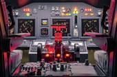 Cockpit of an homemade Flight Simulator - Concept of aerospace industry development - Flying simulation school for aviation learning pilots — Stok fotoğraf
