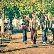 Group of happy best friends with alternative fashion look walking at the park - Hipster tourists having fun outdoors in sunny winter day - University students during a break hanging out together — Stock Photo #62340009