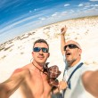 Hipster best  friends taking a selfie at Etosha national park in Namibia - Adventure travel lifestyle enjoying moment and sharing happiness - Trip together around the world as alternative lifestyle — Stock Photo #62340247