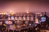 Prague and Vltava river from Letna Hill - Romantic view after misty sunset with emotional marsala color filter - European capital of bohemian Czech Republic — ストック写真