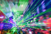 Laser show in modern disco party night club - Concept of nightlife with music and entertainment -  Image edited with radial zoom defocusing — Stock Photo