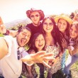 Best friends taking selfie at countryside picnic - Happy friendship concept and fun with young people and new technology trends - Vintage filter look with marsala color tones - Fisheye lens distorsion — Stock Photo #72699055