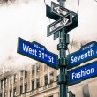Modern street sign and vapor steam in New York City - Urban concept and road traffic directions in Manhattan downtown - American world famous capital destination on dramatic desaturated filtered look — Stock Photo #72699071