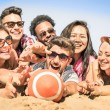 Group of multiracial happy friends having fun at beach games - International concept of summer joy and multi ethnic friendship together - Warm sunny afternoon color tones with shallow depth of field — Stock Photo #78617478