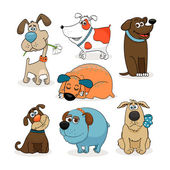 Set of Funny Dogs — Stock Vector