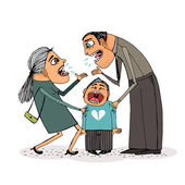 Angry parents fight over child. — Vector de stock
