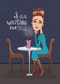 Girl in cafe — Stock Vector
