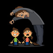 Evil scary man scares small children in the dark — Stock Vector