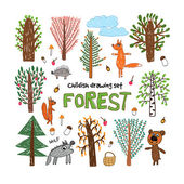 Childish drawing set about forest with trees and animals — Stock Vector