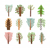 Childish drawing set of trees in the forest — Stock Vector