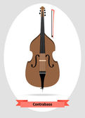 Musical instrument double bass — Stock Vector
