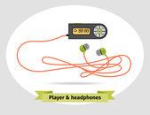 Oynatıcı, kulaklık — Stok Vektör