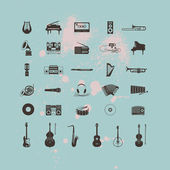 Set of Musical Instruments Icons — Stock Vector