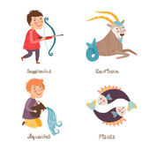 Sagittarius, Capricorn, Aquarius, Pisces signs of Horoscope. — Stock Vector