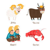Aries, Taurus, Gemini, Cancer signs of Horoscope. — Stock Vector