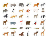 Big Collection of Wild Animals — Stock Vector
