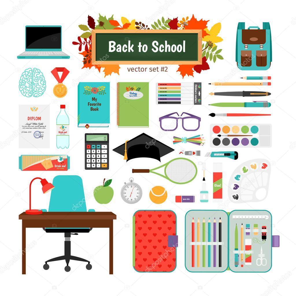 Back to school vector set: desk, chair, computer, tutorial, medal