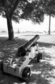 St Simon's Island Antique Cannon in Black and White — Stock Photo