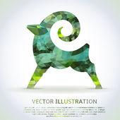 Geometric green shape of the Goat. — Stock Vector