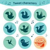 Round internet icons of tweet birds social media — Stock Vector