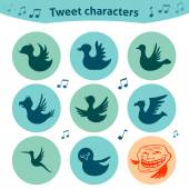Round internet icons of tweet birds social media — Stockvektor