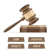 Judges gavel or auction hammer — ストックベクタ