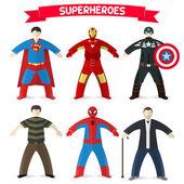 Set of superheroes — Stock Vector