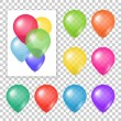 Set of party balloons on transparent background. — Stock Vector #69496781