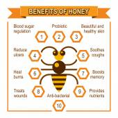 Infographic placard about benefits of honey — Vettoriale Stock