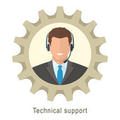 Technical support man with headphones — Stock Vector