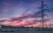 Colorful sunset over the hypermarket on the outskirts of Moscow. Solncevo. Power Transmission Line — Stock Photo