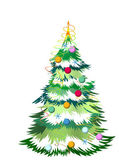 Christmas tree with colored balls on a white background — Foto de Stock