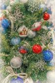Glass toys hanging on a Christmas tree — Stock Photo