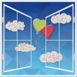 The view from the open window. Two balloons in the form of heart flying against the blue sky and clouds — Stock Photo #62561143
