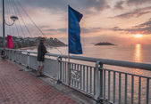 Vietnam, Nha Trang, A fisherman is on a bridge over the River Cai — Stock Photo